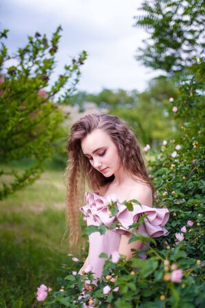 Teenager girl with curly long hair in pink costume at rose hip blooming bush. Springtime blossoming and tender youth concept.
