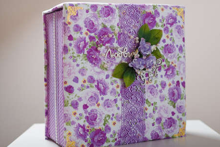 Fabric covered box for weddig scrapbook album with purple lace, flowers and inscription in Russian reads - Love story.