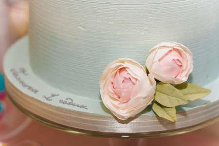 Bottom of wedding or birthday cake with tender rose flower on festive candy bar background.