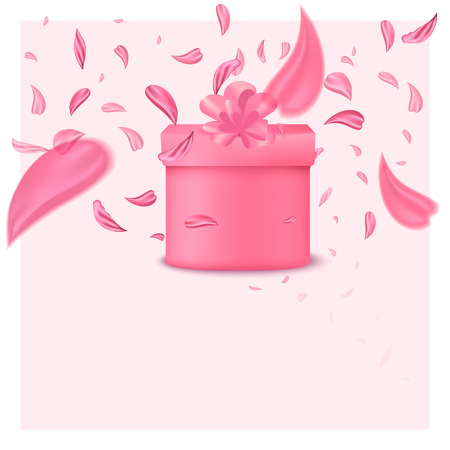 Fashionable sakura's flower box. Fashion accessory illustration in trendy soft colors for beauty salon, shop, blog print. Isolated symbol on pink background.