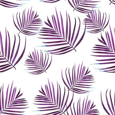 Hibiscus seamless pattern. Palm leaf. Flower background
