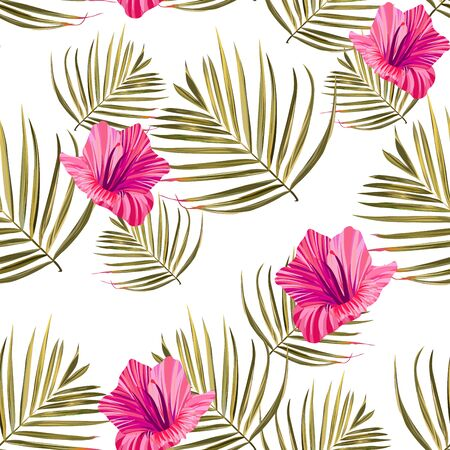 Hibiscus pattern. Tropic palm leaf. Seamless background. Illustration
