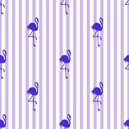 Seamless striped vector tropical pattern. Flamingo. 写真素材 - 130025313