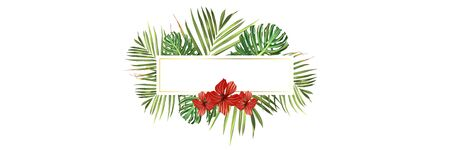 Tropical beach. Floral jungle palm background. Vector tropic illustration. Green tropical beach banner  イラスト・ベクター素材