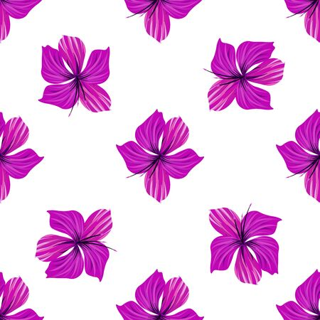 Hibiscus flower. Seamless tropic pattern. Palm background.