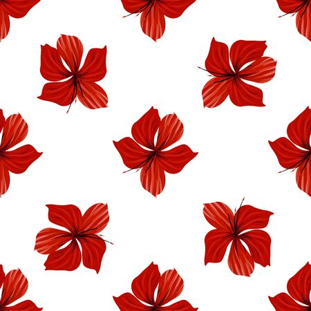 Palm tree. Hibiscus seamless pattern. Flower background 일러스트