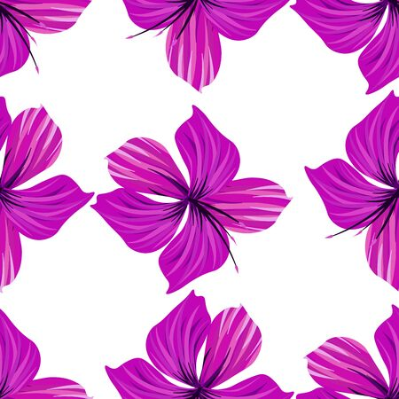 Hibiscus seamless pattern. Palm leaf. Flower background.