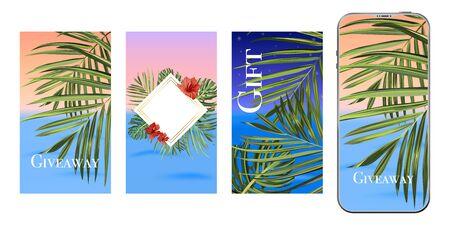 Template design. Post for social media. Stories design layout. Trendy editable tropical template. Иллюстрация