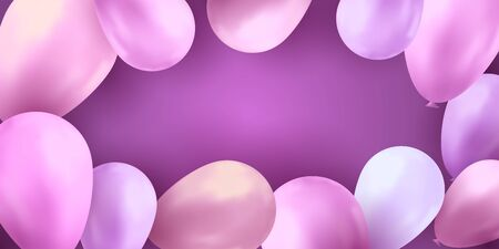 Balloons party birthday. Colorful vector realistic banner. Gift flyer, balloons poster. Archivio Fotografico - 131771560