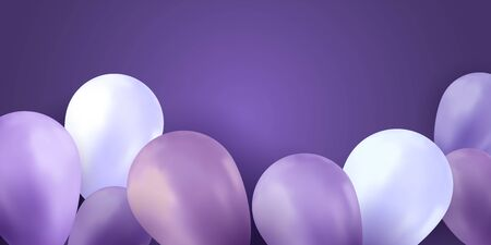 Balloons sky. Party background. Colorful realistic flyer. Birthday vector banner. Bright balloon. Archivio Fotografico - 131771656