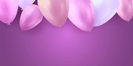 Balloons party birthday. Colorful vector realistic banner. Gift flyer, balloons poster.  イラスト・ベクター素材