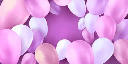 Balloons party birthday. Colorful vector realistic banner. Gift flyer, balloons poster