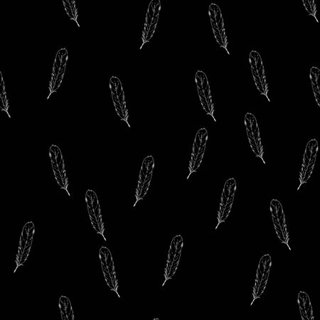 Feather texture hand drawn seamless pattern. Falling feather print. Çizim