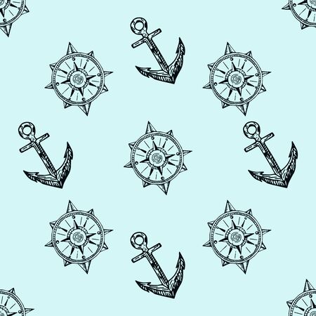 Matine life. Doodle seamless pattern. Pirates hand drawn textures and background.