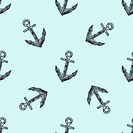 Sea life. Doodle seamless pattern. Pirates hand drawn textures and background.