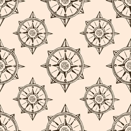 Vintage travel drawings. Hand drawn doodle seamless marine pattern.