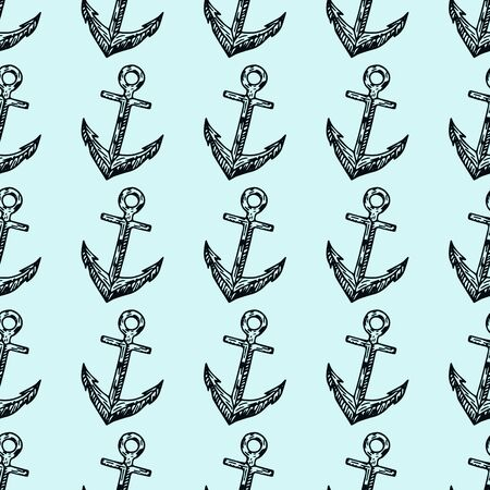 Marine life. Doodle seamless pattern. Pirates hand drawn textures and background. Illustration