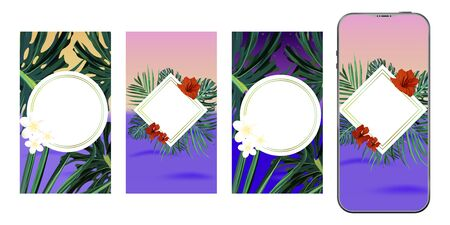 Template design. Post for social media. Stories design layout. Trendy editable tropical template. Illustration