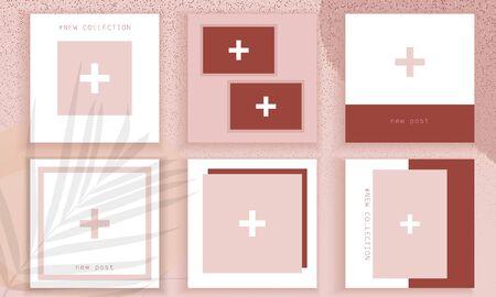 Stories wallpaper. Template for social media. Post design background. Trendy editable template. Nude template for social media. Foto de archivo - 134589645