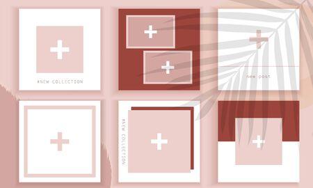 Stories wallpaper. Template for social media. Post design background. Trendy editable template. Nude template for social media. Foto de archivo - 134589658