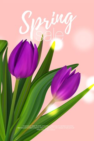 Sale spring brochure. Colorful banner with special offer. Nice flyer to Womans day.