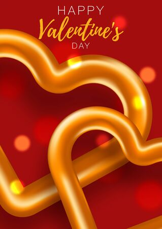 Romantic banner. Spesial brochure with hearts. Gift poster card. Sale banner background for romantic day.