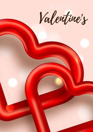 Valentine card. Romantic day background love poster to promotion. Sale banner with hearts and gifts. Special offer to romantic day.