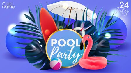 Pool party poster background. Hawaiian invintation with pink flamingo and summer attributes. Beach summer party. Ilustração