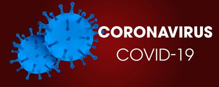 Novel Coronavirus COVID-19 medical infection.Virus protection covid19 molecule on red. Dangerous asian ncov corona virus pandemic risk background design. Illusztráció