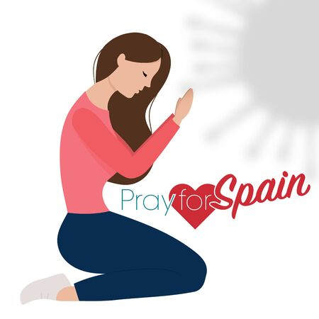 Spanish woman and Spain flag. Pray for Spain, save spanish people concept. Covid-19 or Coronavirus concept. 向量圖像