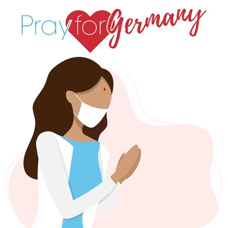 Covid-19 or Coronavirus concept. Pray for Germany, save people concept. Woman prayed for Germany. Vector illustration.