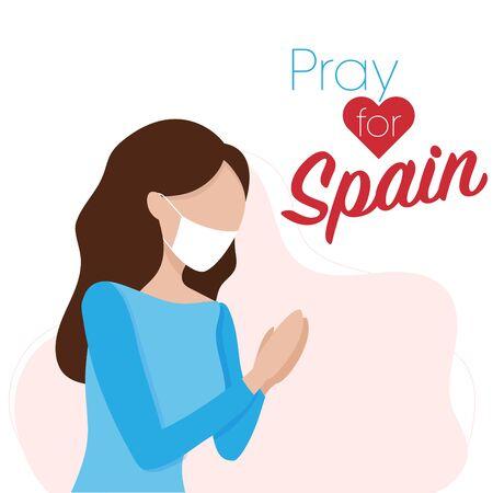 Covid-19 virus outbreak in Spain. Pray for Spain, Coronavirus concept. Woman praying for spanish. Vector illustration. 向量圖像