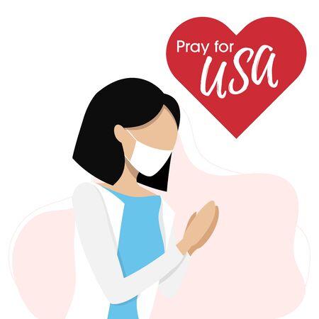 Covid-19 or Coronavirus concept. Pray for USA, save US people concept. Woman prayed for USA. Vector illustration. 向量圖像