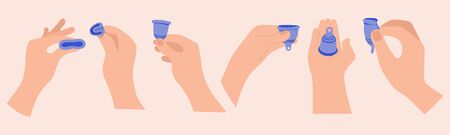 Menstrual cramp in period, use menstrual cup inside vagina. Zero waste feminine device. Menstuation womans period. Personal hygiene. Standard-Bild