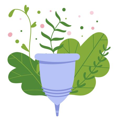 Menstrual cramp in period, use menstrual cup inside vagina. Zero waste feminine device. Menstuation womans period. Personal hygiene. Ilustração