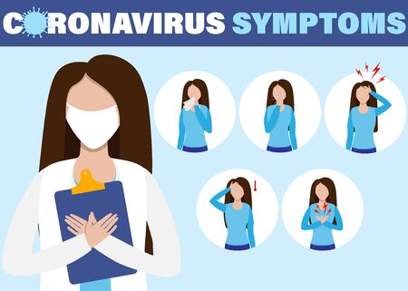 Symptoms infographics covid-19. Coronavirus ncov disease, medicine protection and symptoms infection tips. Ilustrace