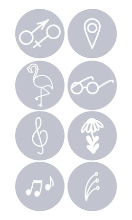 Stories covers highlights. Cute retro style story for bloggers. Blogger set line icons layout. Vector illustration.