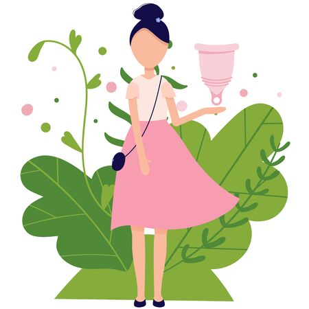 Menstrual cramp in period, use menstrual cup inside vagina. Zero waste feminine device. Menstuation womans period. Personal hygiene. Illustration