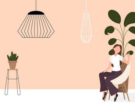 Blogger girl, freelancer woman. Video channel website, new content technology. Blogging miniature vector illustration. 向量圖像