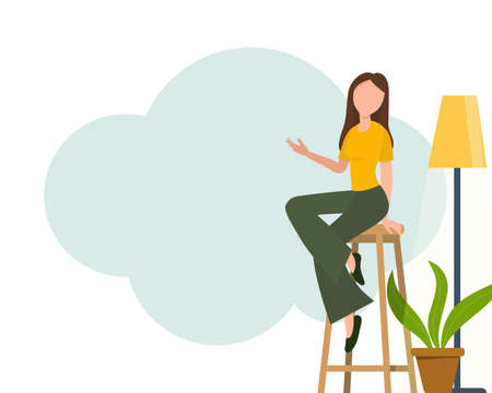 Blogger girl, freelancer woman. Video channel website, new content technology. Blogging miniature vector illustration. 向量圖像