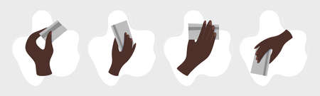 Afro american Hand holding credit card. Business money payment, person cash. Icon vector illustraton.