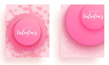 Valentine day set love beautiful. Spesial brochure with hearts. Gift poster card. Sale banner background for romantic day.
