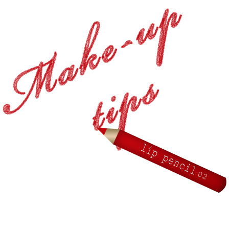 lip pencil: Make-up tips text and a red lip pencil Stock Photo