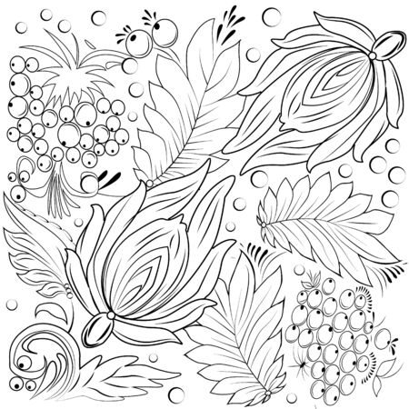 outumn: Vector - hand-drawn illustration with flowers, leaves.  Outumn nature design for relax, meditation. pattern black and white illustration can be used for coloring book pages for kids and adults.