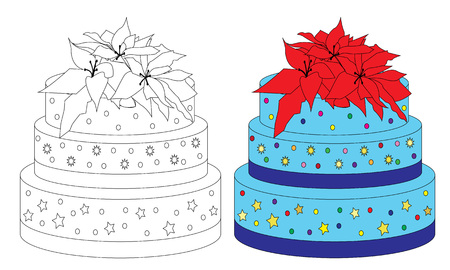 Coloring book page sweet birthday cake. Sketch and color version. Illustration