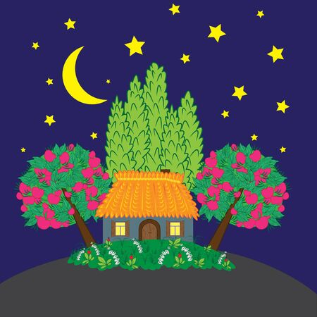 bantam hen: Rural landscape at night Illustration