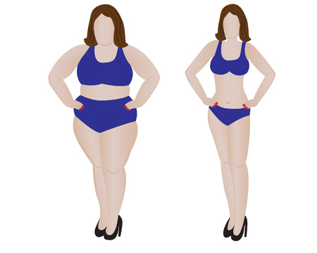 big ass: Fat and slim girl. Weight loss fitness. Vector illustration