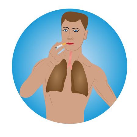 Man smoking warning sign vector illustration Illustration
