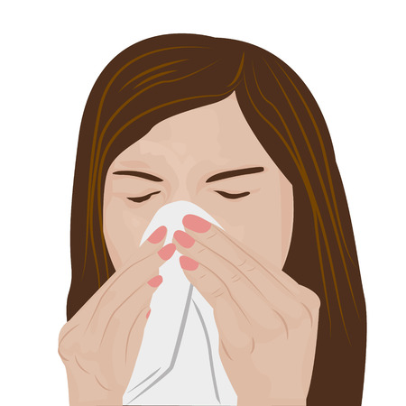 influenza: Woman sneezing vector illustration Illustration