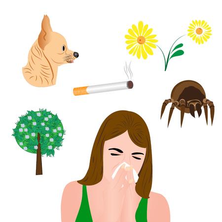 flu virus: allergens infographic vector illustration  on  the white background Illustration